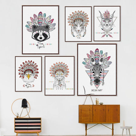 Indian Animals Art Wall Art indian-animals-art 13x18 cm No Frame / cat