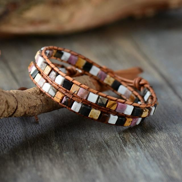 Leather Natural Stones Bohemian Handmade 2 Strands Wrap Bracelet California Bracelets