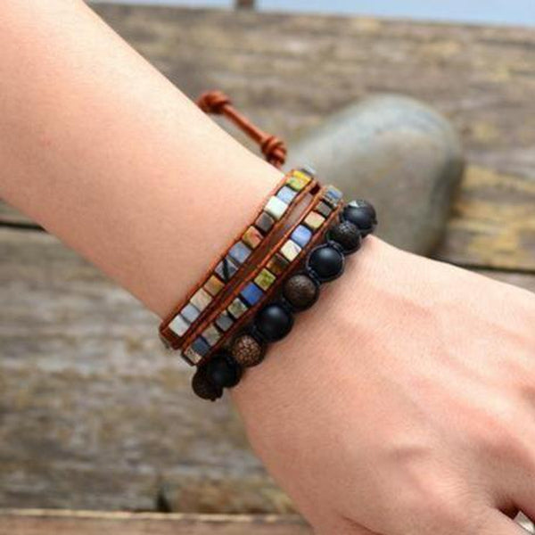 Leather Natural Stones Bohemian Handmade 2 Strands Wrap Bracelet Bracelets