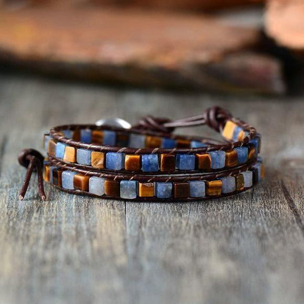 Leather Natural Stones Bohemian Handmade 2 Strands Wrap Bracelet Cool Bracelets