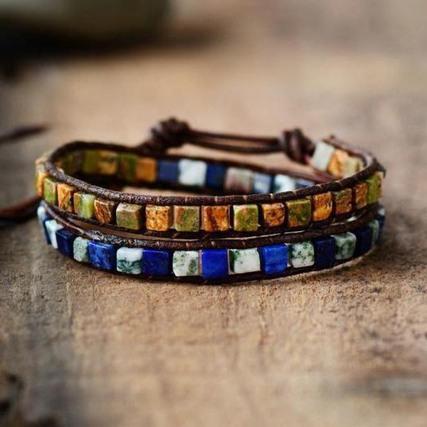 Leather Natural Stones Bohemian Handmade 2 Strands Wrap Bracelet Mysterious Bracelets