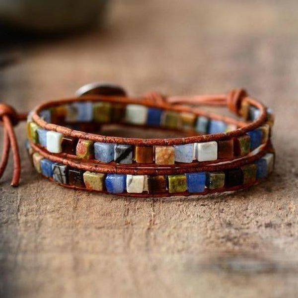Leather Natural Stones Bohemian Handmade 2 Strands Wrap Bracelet Tribal Bracelets