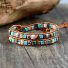 Leather Natural Stones Bohemian Handmade 2 Strands Wrap Bracelet Hot Fashion Bracelets