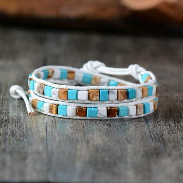 Leather Natural Stones Bohemian Handmade 2 Strands Wrap Bracelet Fantasy Bracelets