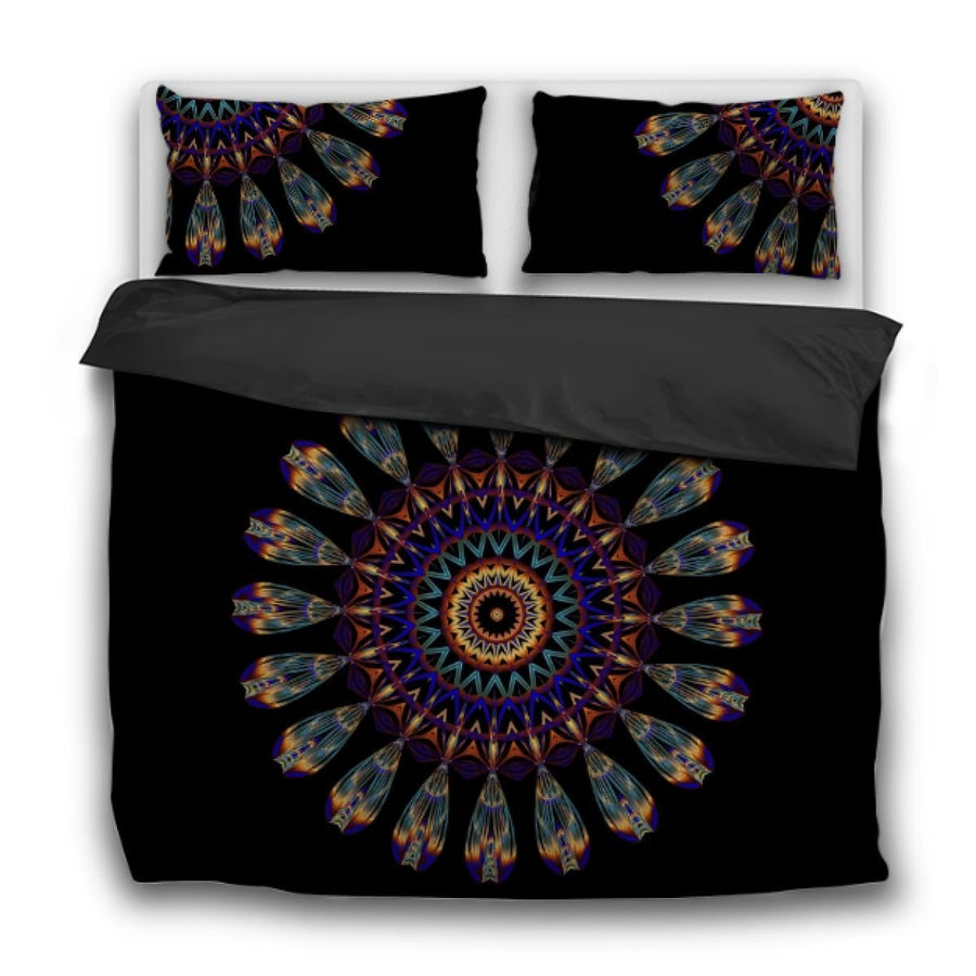 Mandala Feather Duvet Cover Bedding Bedspread Tapestry Gypsy Hippie Us Twin Sets