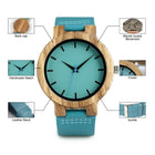 Men Blue Leather Band Wood Watch Display Bamboo Wooden Gift Box Watches