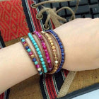 Mixed Natural Stones Leather Wrap Bracelet Bracelets
