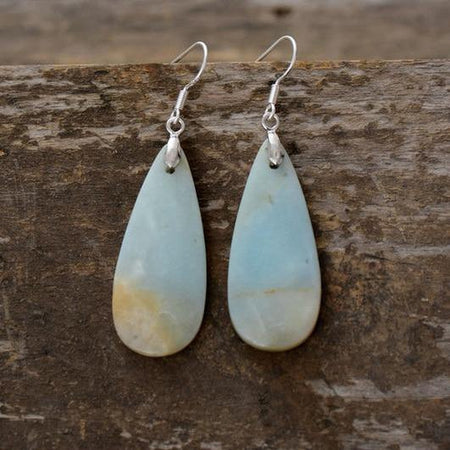 Natural Amazonite Stone Dangle Teardrop Earrings-Spirylife