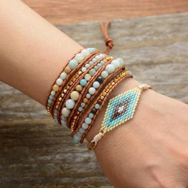 Natural Amazonite Stones Gold Beads 5 Strands Wrap Bracelet-Spirylife