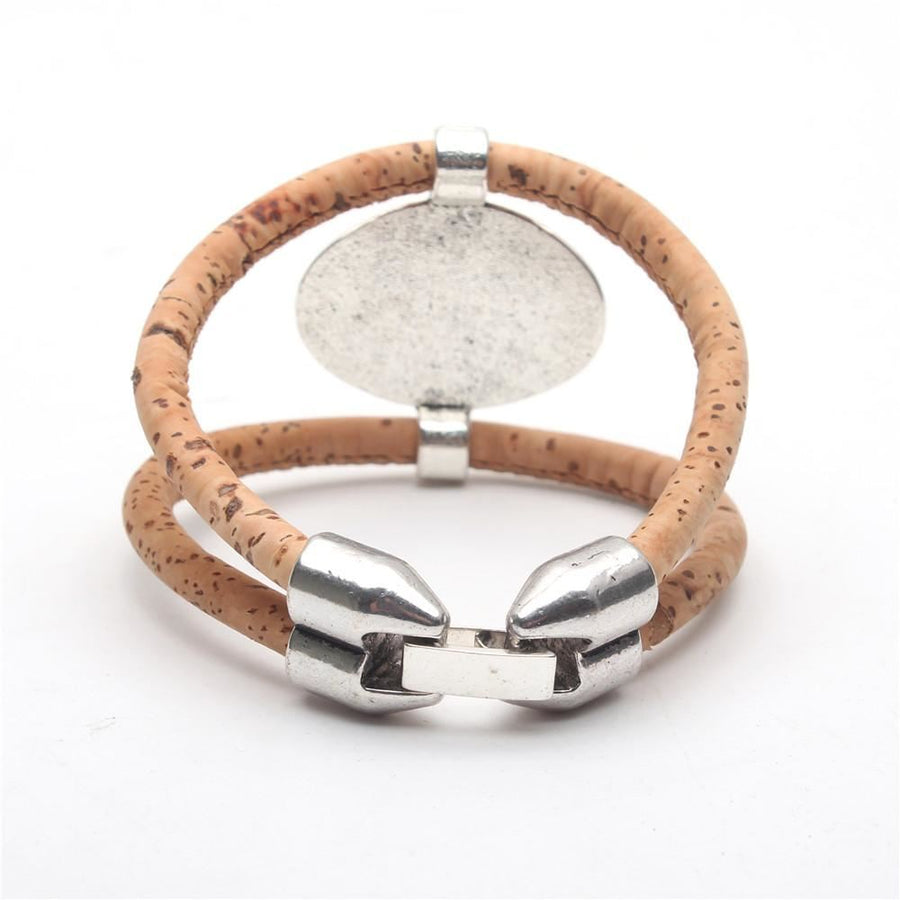 Natural Cork Antique Sliver Bracelet Bohemian Vegan Handmade Jewelry Bracelets