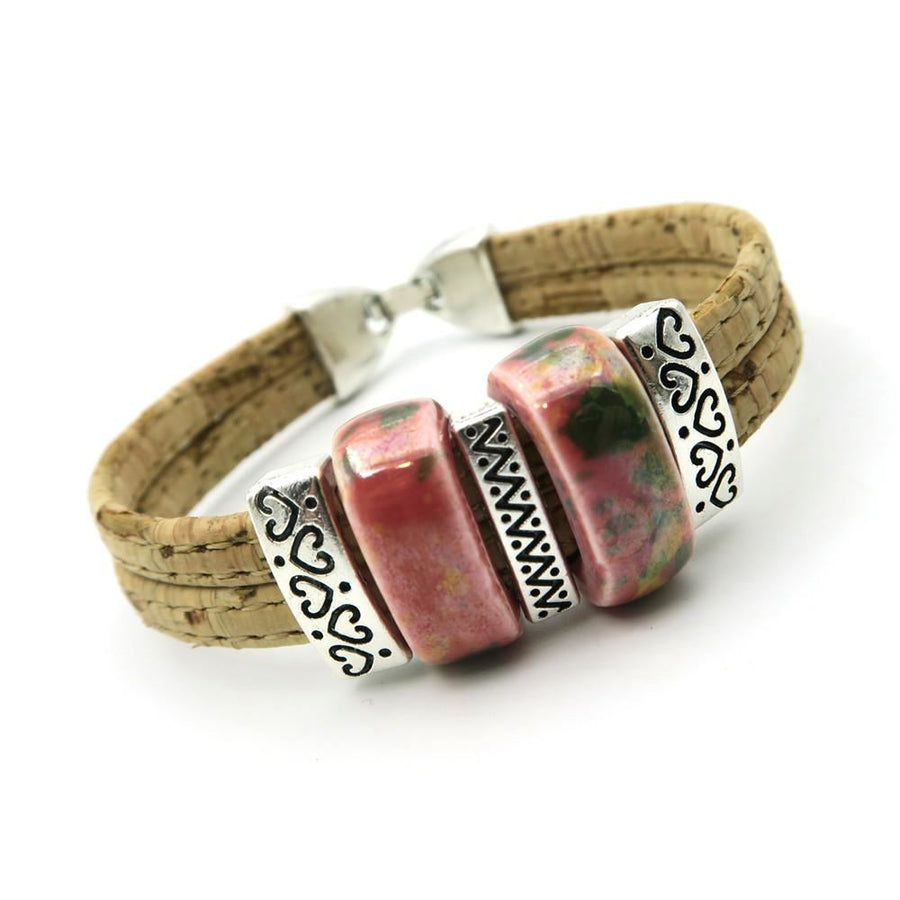 Natural Cork Ceramic Beads Bracelet Bohemian Handmade Vegan Jewelry Bracelets