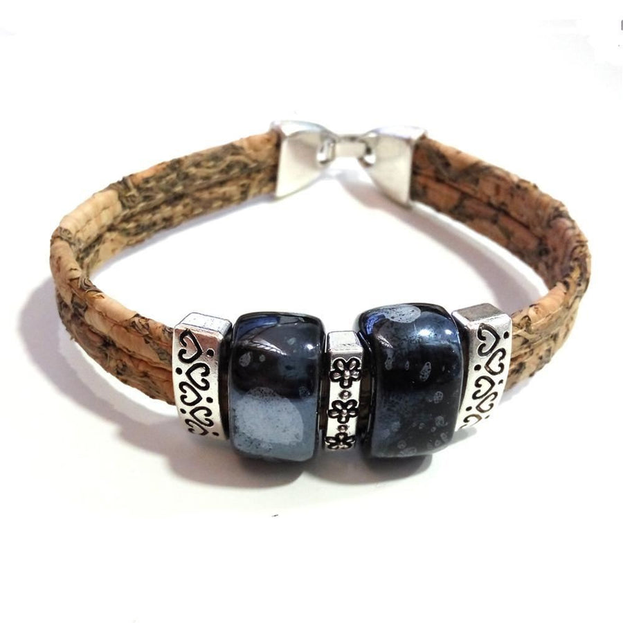 Natural Cork Ceramic Beads Bracelet Bohemian Handmade Vegan Jewelry Black Bracelets