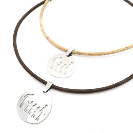 Natural Cork Family Son Daughter Stainless Steel Pendant Necklace Necklaces