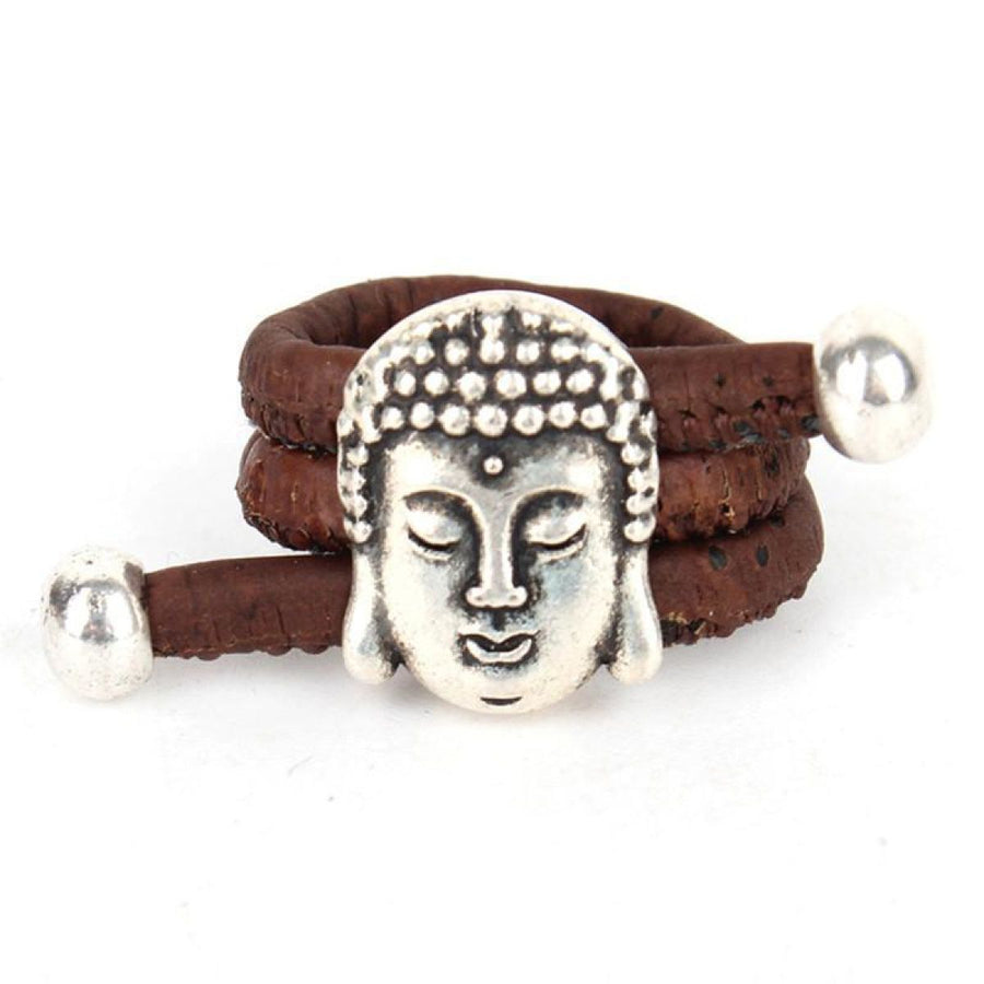 Natural Eco Cork Vegan Yoga Antique Buddha Head Vintage Handmade Ring Brown