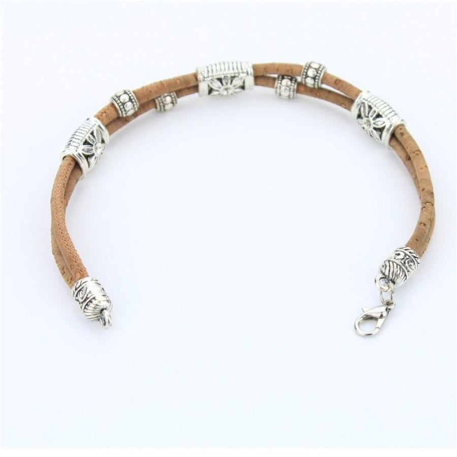 Natural Eco Vegan Cork Flower Beads Handmade Bracelet Women Jewelry Bracelets