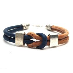 Natural Eco Vegan Cork Handmade Navy Blue Knot Bracelet With Bracelets