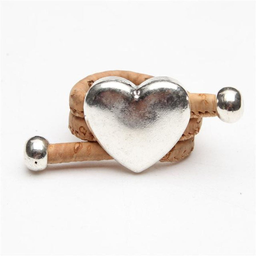 Natural Eco Veganhandmade Cork Antique Silver Love Heart Ring Burlywood