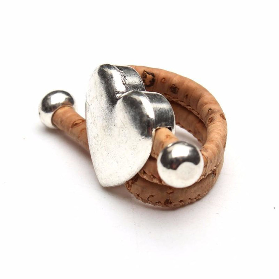Natural Eco Veganhandmade Cork Antique Silver Love Heart Ring
