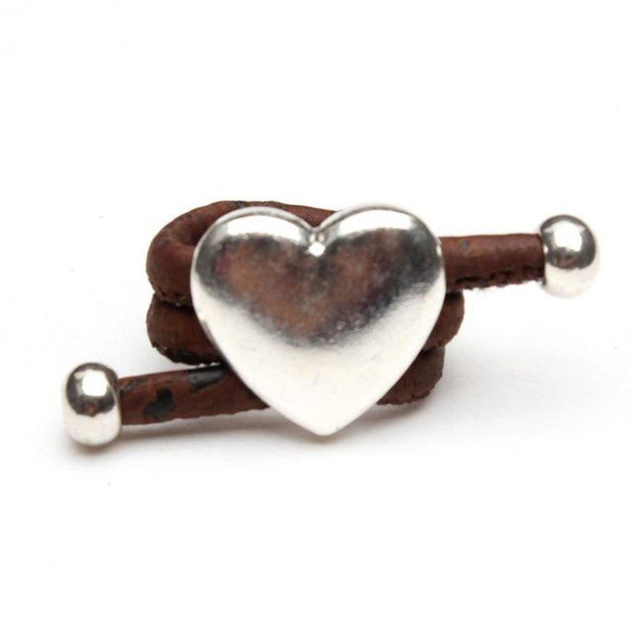 Natural Eco Veganhandmade Cork Antique Silver Love Heart Ring Brown