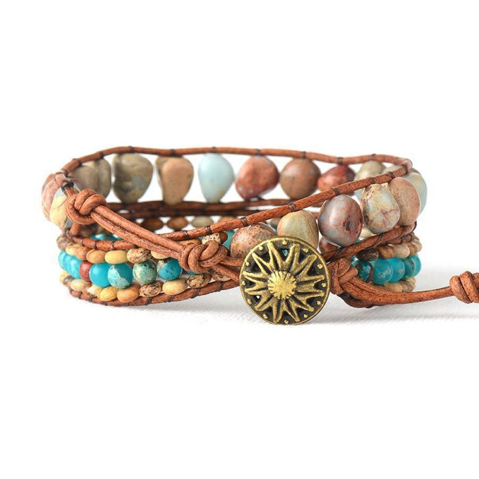 Natural Jasper Stones 2 Strands Leather Rope Bracelet-Spirylife