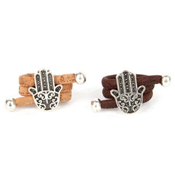 Natural Organic Handmade Cork Antique Sliver Hamsa Hand Adjustable Vegan Ring