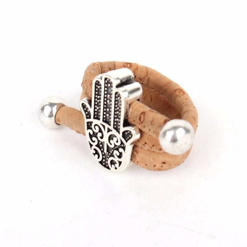 Natural Organic Handmade Cork Antique Sliver Hamsa Hand Adjustable Vegan Ring Burlywood