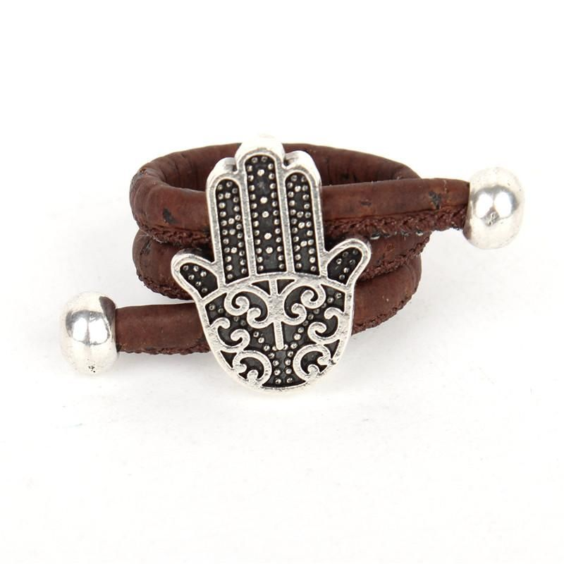 Natural Organic Handmade Cork Antique Sliver Hamsa Hand Adjustable Vegan Ring Brown