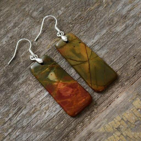 Natural Picasso Jasper Stone Earrings-Spirylife