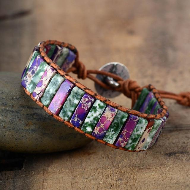 Natural Purple Stone Single Leather Wrap Bracelet-Spirylife