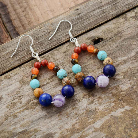 Natural Stone 7 Color Chakra Earrings-Spirylife
