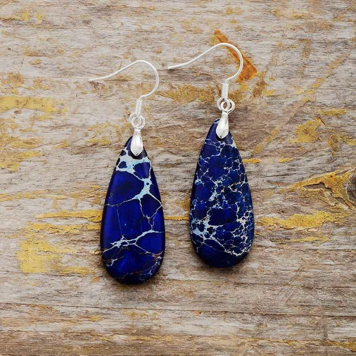 Natural Stone Jasper Teardrop Earrings-Spirylife