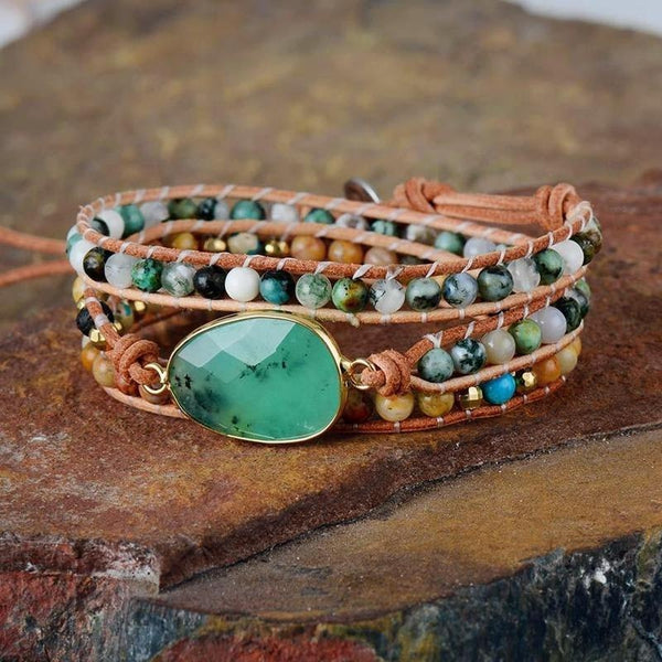 Natural Stone Lava Beads 3 Strands Leather Wrap Bracelet-Spirylife