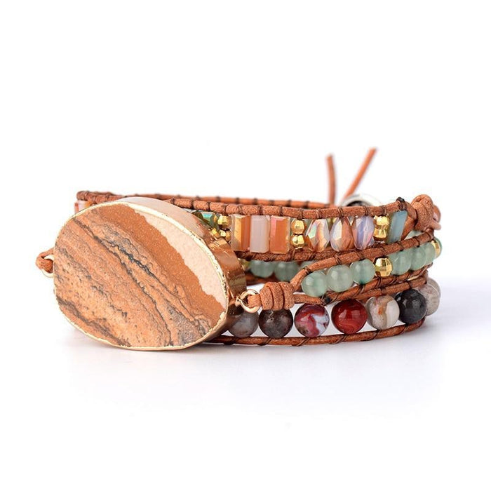 Natural Stones Jasper Crystal Beads 3 Strands Wrap Bracelet-Spirylife