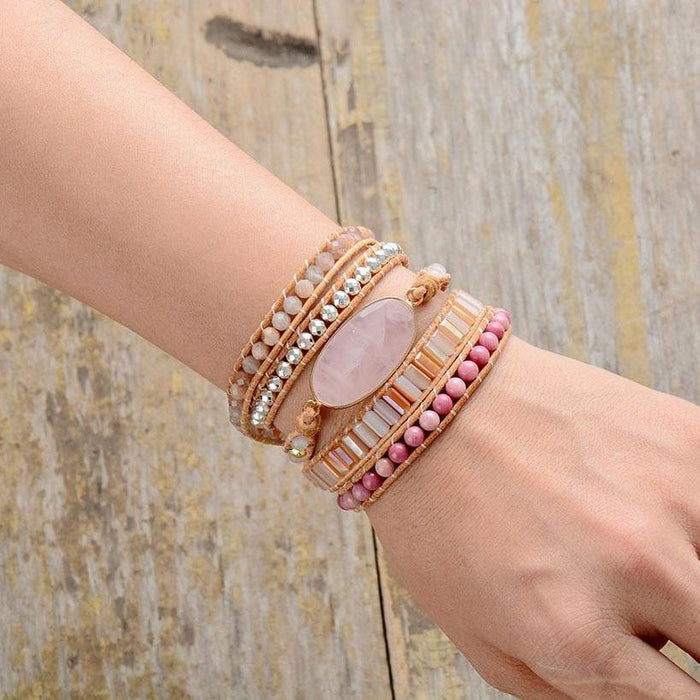Natural Stones Pink Quartz Crystal 5 Strands Wrap Bracelet-Spirylife
