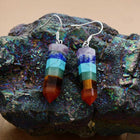 Natural Stones Sharp Cone Chakra Dangle Earrings-Spirylife