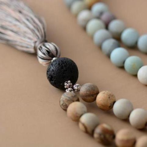 Natural Stones Tassel Mala Necklace Yoga Meditation 108 Beads Necklaces