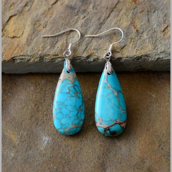 Natural Stones Turquoise Green Teardrop Dangle Earrings