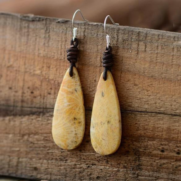 Natural Stones Vintage Leather Bohemian Earrings-Spirylife