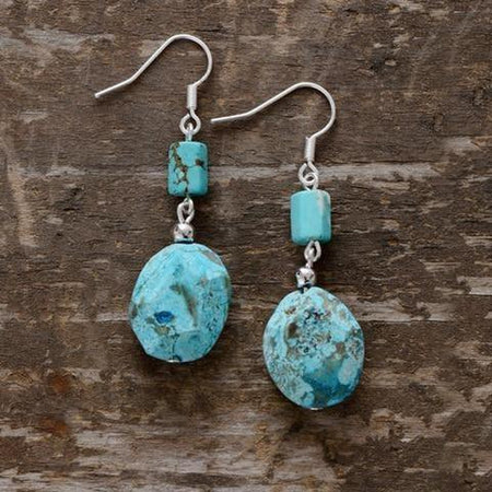 Natural Turquoise Stone Dangle Earrings-Spirylife