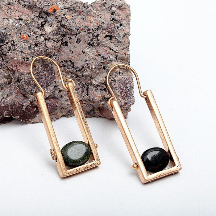 Natural Stone Drop Earrings Earrings natural-stone-drop-earrings Antique Gold