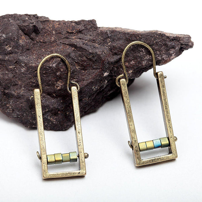 Natural Stone Drop Earrings Earrings natural-stone-drop-earrings Bronze