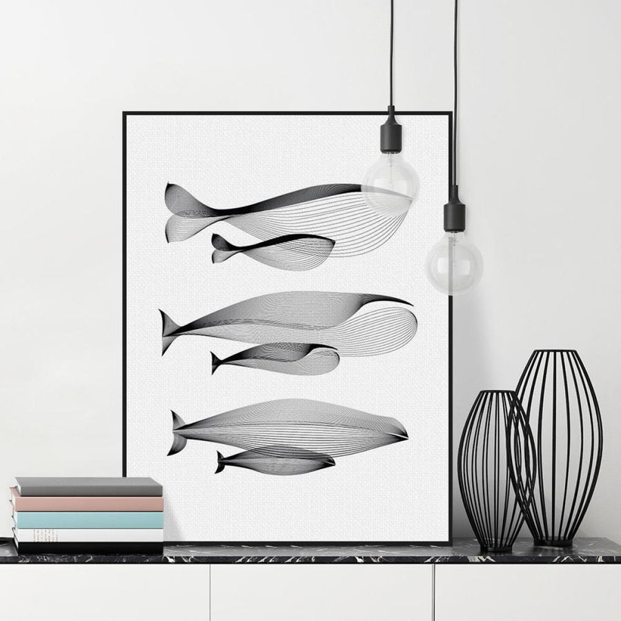 Nordic Minimalist Whales Family Canvas Art Print Wall