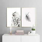 Nordic Owl Feather Bohemian Boho Interior Design Canvas Art Prints Wall