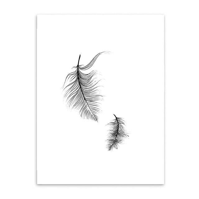 Nordic Owl Feather Bohemian Boho Interior Design Canvas Art Prints 20X25Cm No Frame / 2 Wall