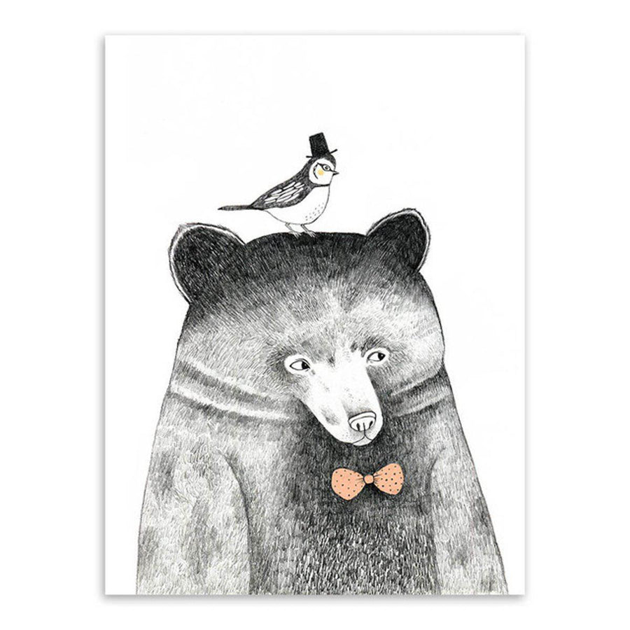 Nordic Animal Art cartoon, Nordic Wall Art nordic-animal-art 13x18 cm No Frame / Hand painted bear