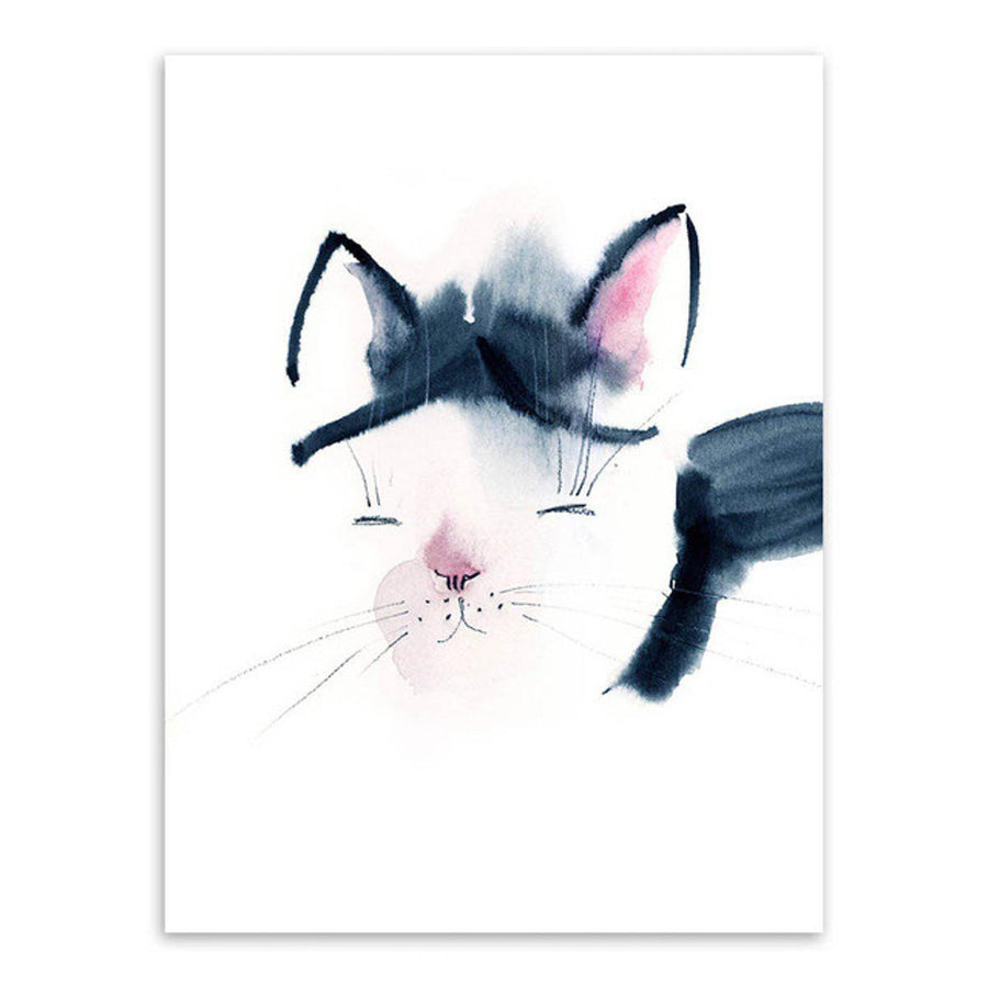 Nordic Animal Art cartoon, Nordic Wall Art nordic-animal-art 13x18 cm No Frame / Hand painted cat