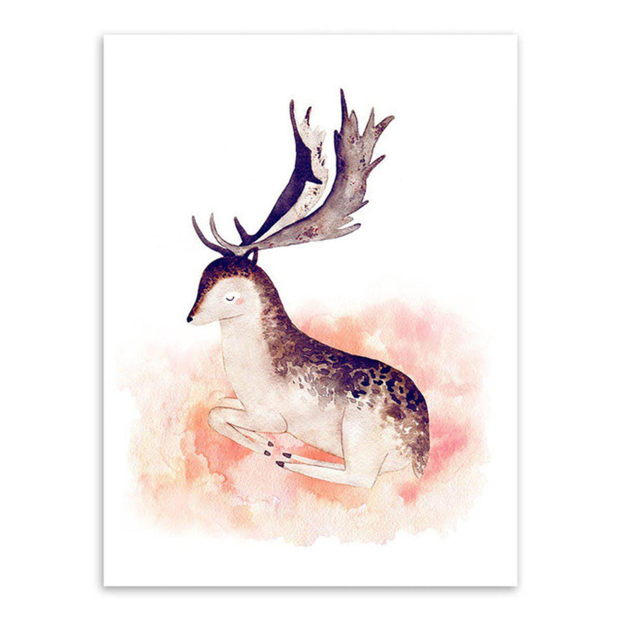 Nordic Animal Art cartoon, Nordic Wall Art nordic-animal-art 13x18 cm No Frame / Hand painted deer