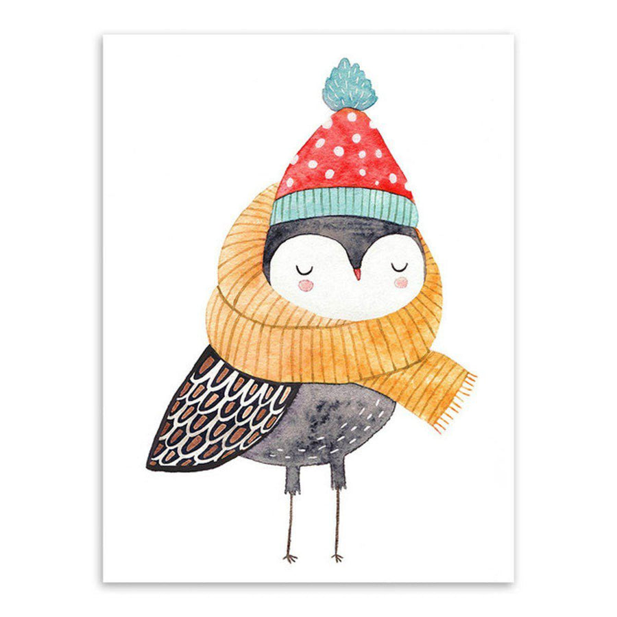 Nordic Animal Art cartoon, Nordic Wall Art nordic-animal-art 13x18 cm No Frame / Hand painted owl
