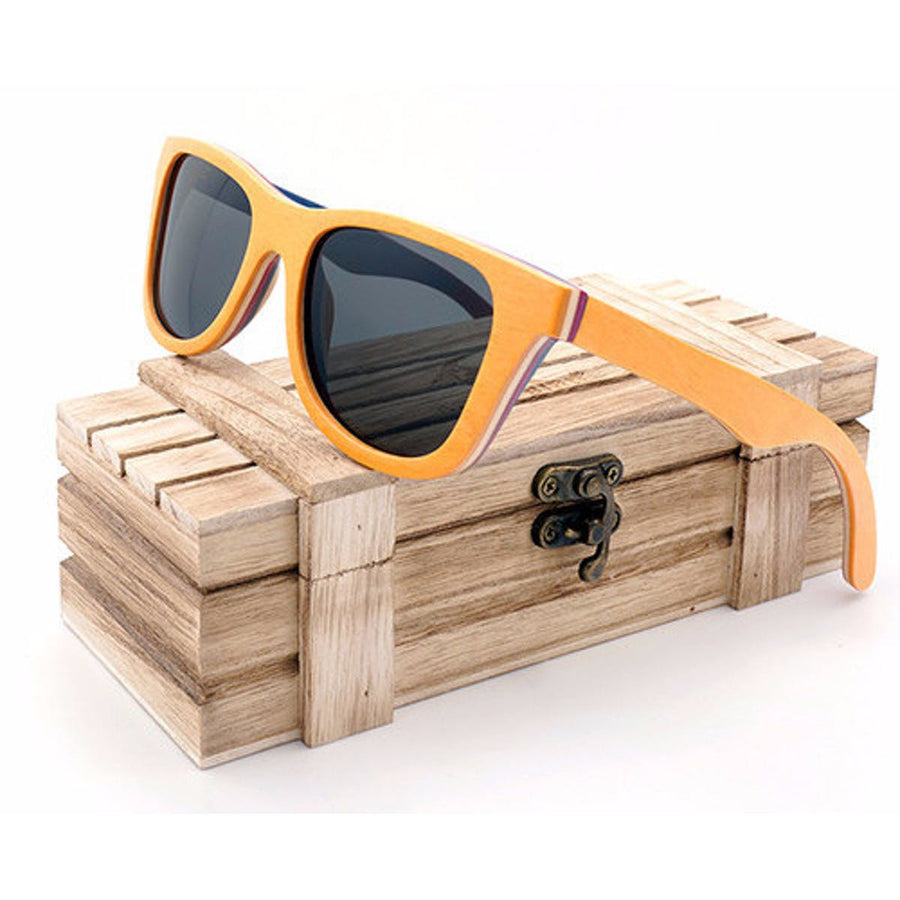 Orange Wood Sunglasses Women Retro Vintage Polarized Skateboard Wooden Glasses Oculos De Sol Men, Women sunglasses