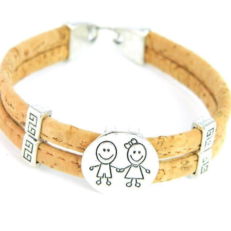 Organic Natural Wooden Cork Boy Girl Family Children Kids Bracelets Jewelry Mom Burlywood